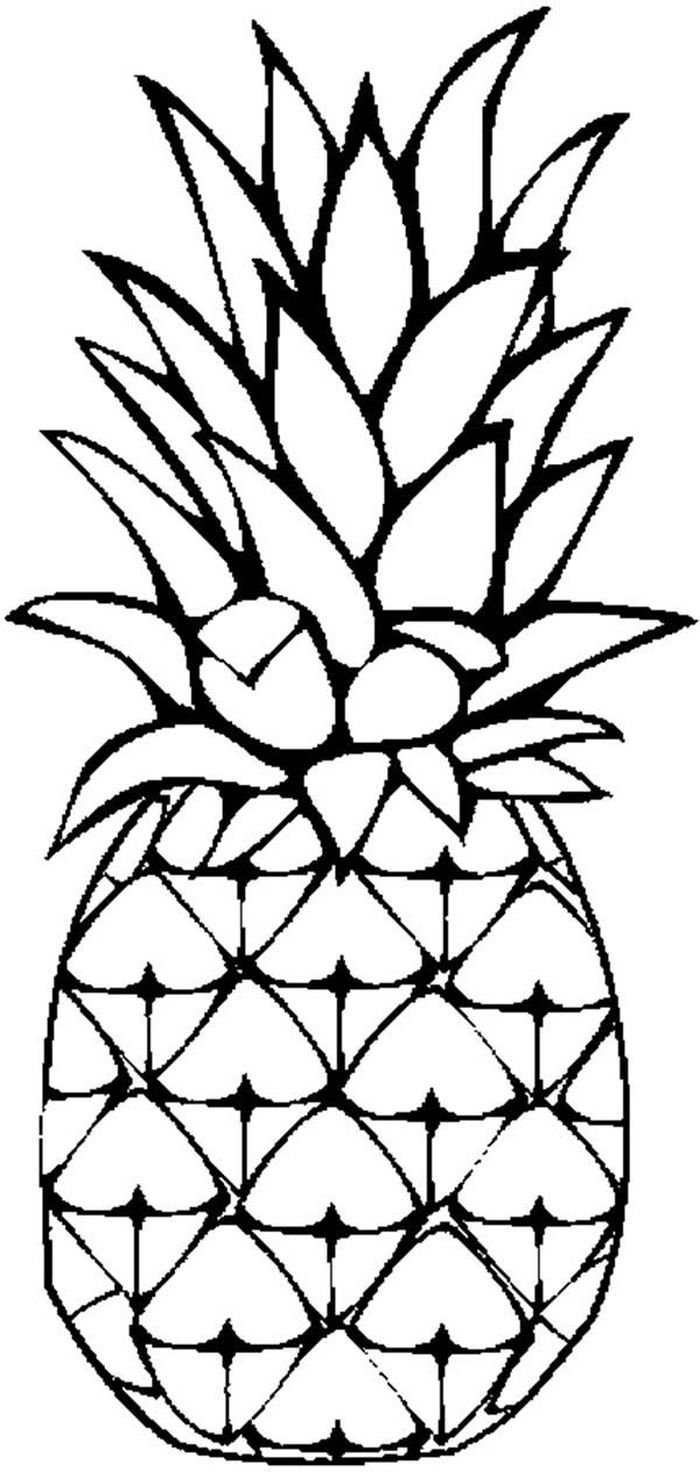 Printable Pineapple Coloring Pages In 2020 Pineapple Drawing Pineapple Art Pineapple Painting