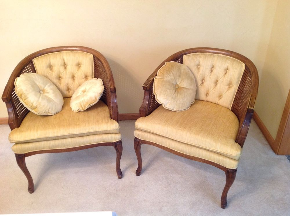 Walking Cane Seat Chairs Hammock Sling With Chair Pad Pair Vintage Mid Century Lewittes Tufted Upholstered Round Back Side | ...