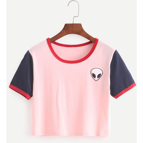 Color Block Alien Print T-shirt ($6.99) ❤ liked on Polyvore featuring tops, t-shirts, crop top, multicolor, short sleeve shirts, short sleeve tops, print t shirts, pink shirt and t shirts