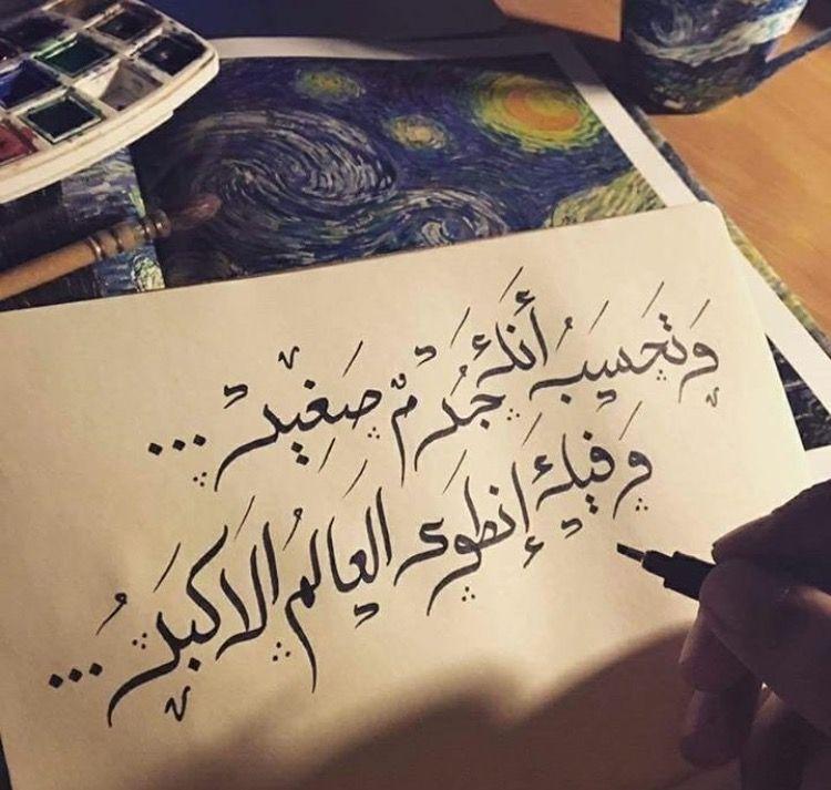 وتحسب أنك جرم صغير وفيك انطوى العالم الأكبر Arabic Quotes Words Poems