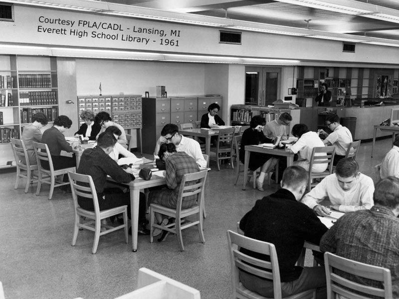 Everett High School-library-1961-JQ02x093-from CADL-Lansing, MI in