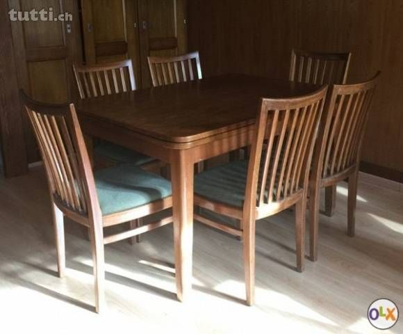 Table de salle à manger, bois massif et 6 chaises - Vaud - tuttich
