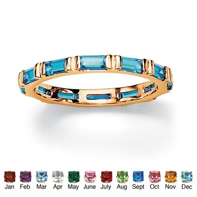 Baguette Cut Simulated Birthstone 14k Gold-Plated Eternity Band Stack Ring $29.95