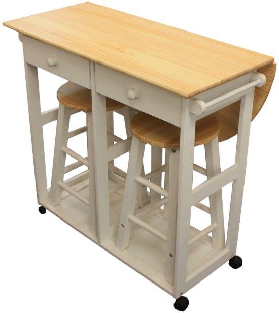 Maribelle Folding Table And Stool Set Kitchen Breakfast Bar White