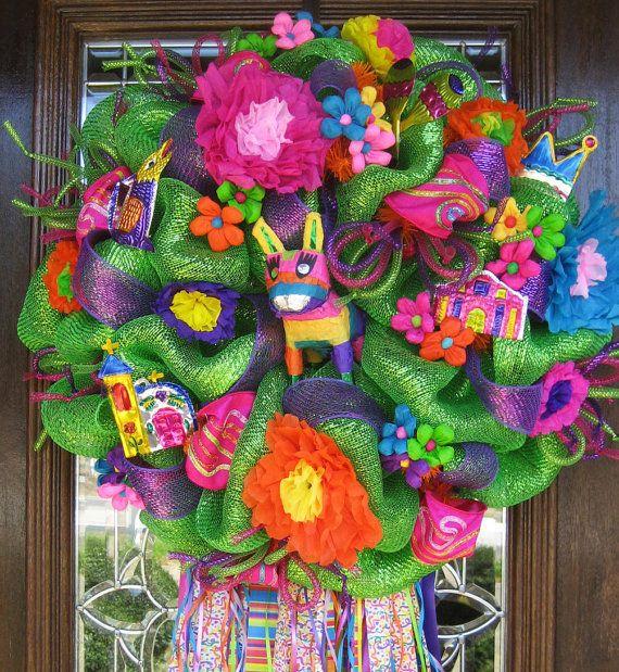 Popular Deco Mesh GREEN FIESTA WREATH | Fiestas, Cinco de Mayo y Fiesta  GD09