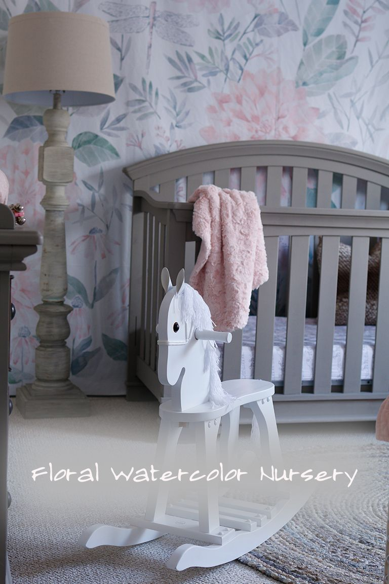 Sophisticated but not stuffy nursery with daybed. Grey, pink, white