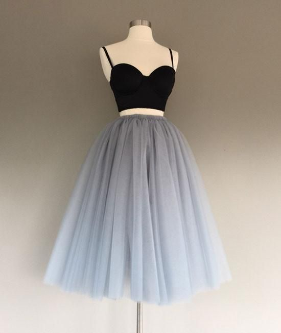2943a82ccc6 Gray tulle two pieces short prom dresses