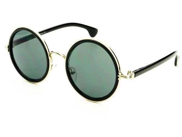 Sleek Retro Fashion Style Logo Round Sunglasses Black Silver R1422