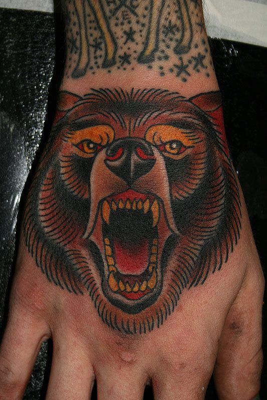 df0b2f6da Bear tattoo. Traditional tattoo. Hand tattoo | Tattoos | Bear ...