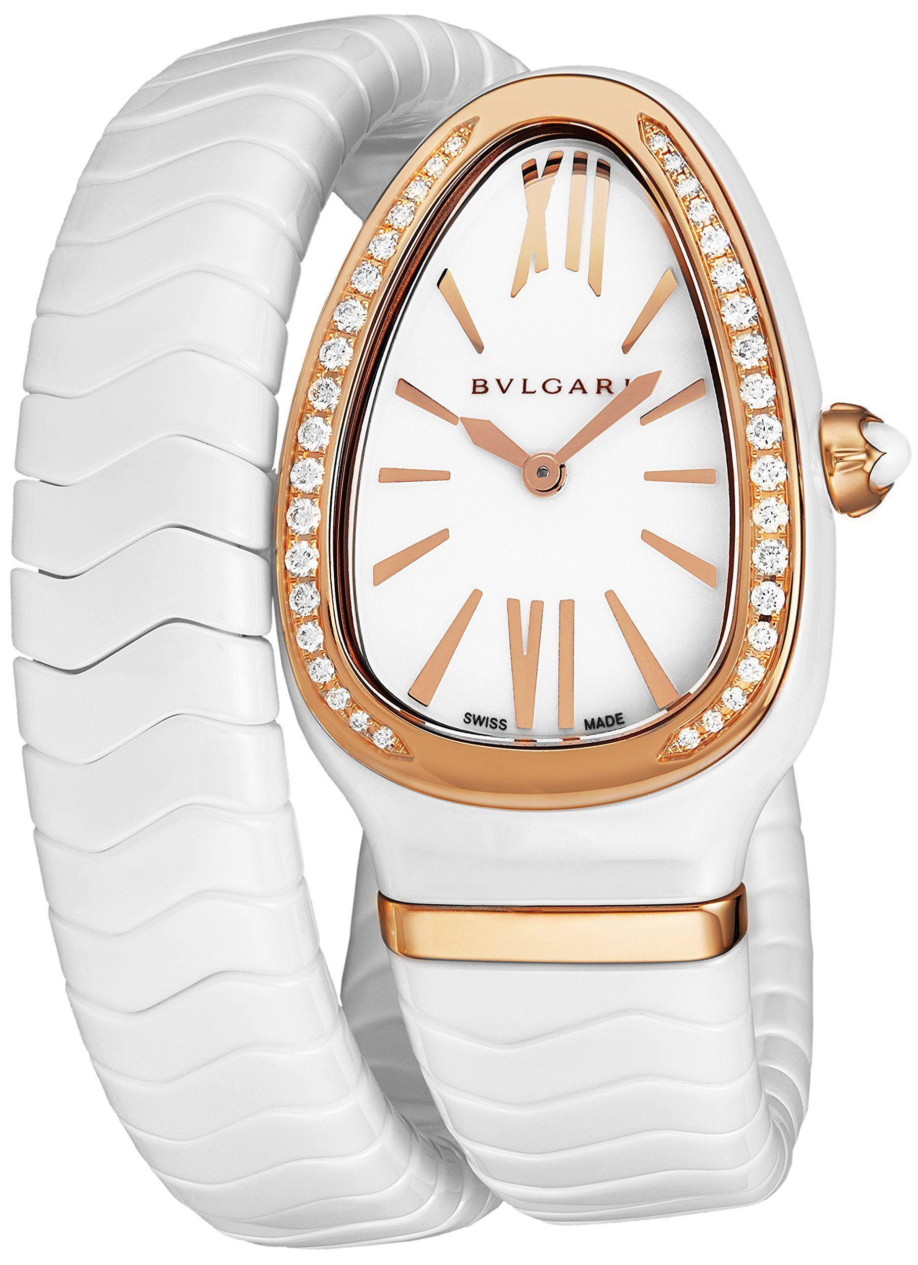 23de5f6925180 Bulgari Serpenti Spiga Womens White Ceramic Rose Gold Diamond Watch -  Triangle Analog White Face with Sapphire Crystal Snake-shape Ladies Watch -  Swiss ...