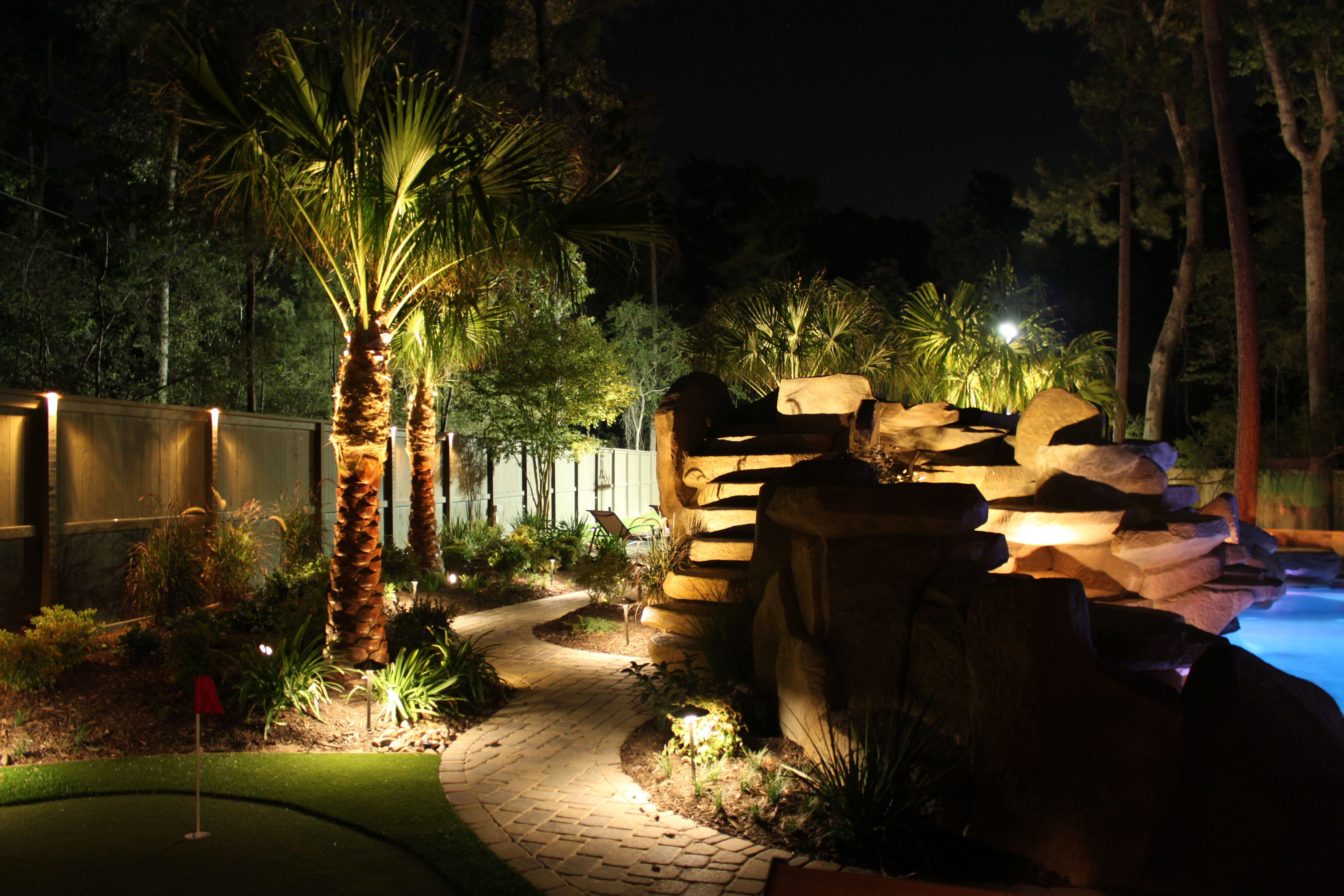 landscape lighting | Lighting around a pool - Houston Landscaping ...