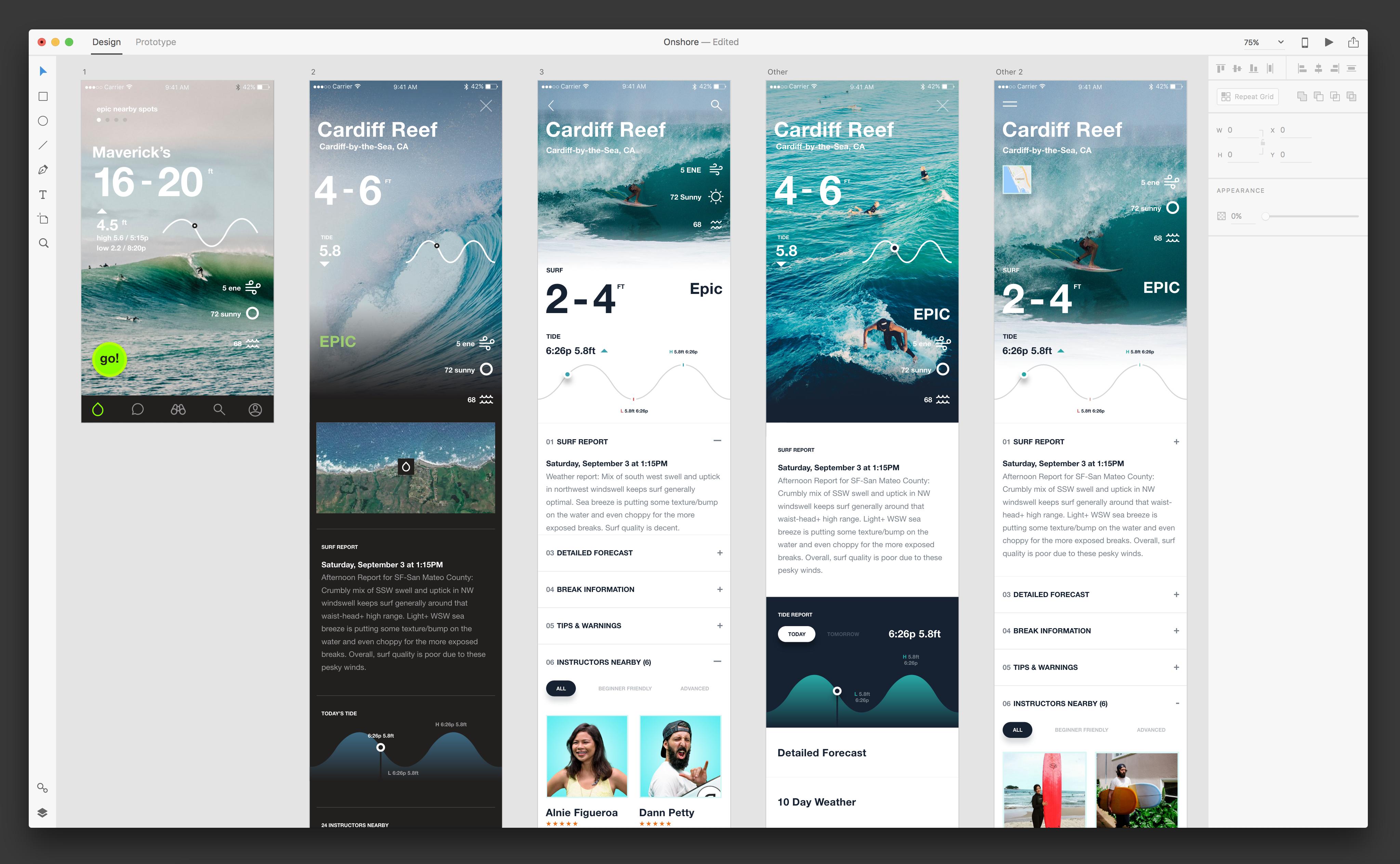 Adobe Xd — Onshore Surf Stats / Dann Petty   Mobile: iOS   Surf app