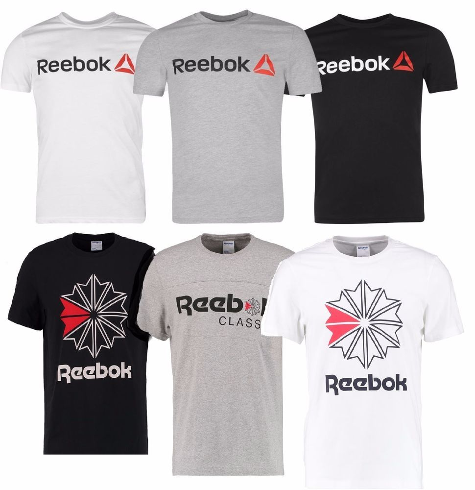 Herren Reebok T-Shirt Kurzarm Rundhals Fitness Baumwolle Größe S-XL CrossFit