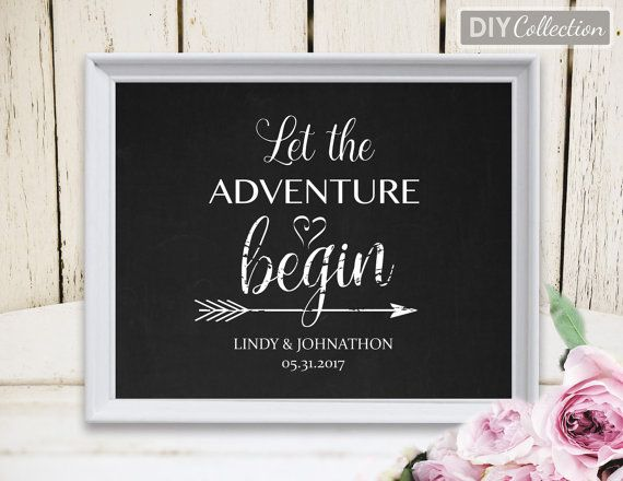 Let The Adventure Begin Sign Printable Wedding Sign Template 8x10