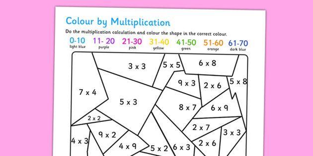 Maths Colouring Multiplication Worksheet Multiplication Multiplication Activities Math Coloring