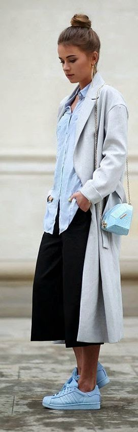 Light Blue Sneakers Outfit Idea | Long