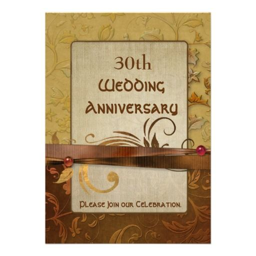 Burnished Autumn Gold 30th Wedding Anniversary Personalized Party Invite. Change the date and other text to your own on front and back.
