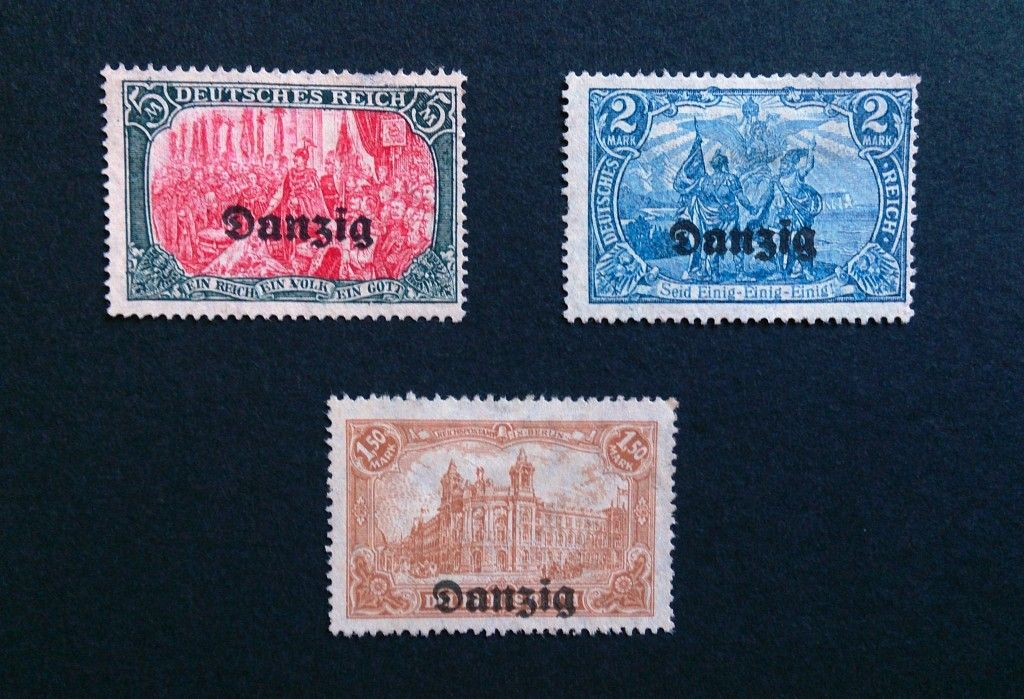 STAMPS COLLECTION 3X DANZIG OVERPRINTS ON EARLY GERMAN Today For Sale Send Me