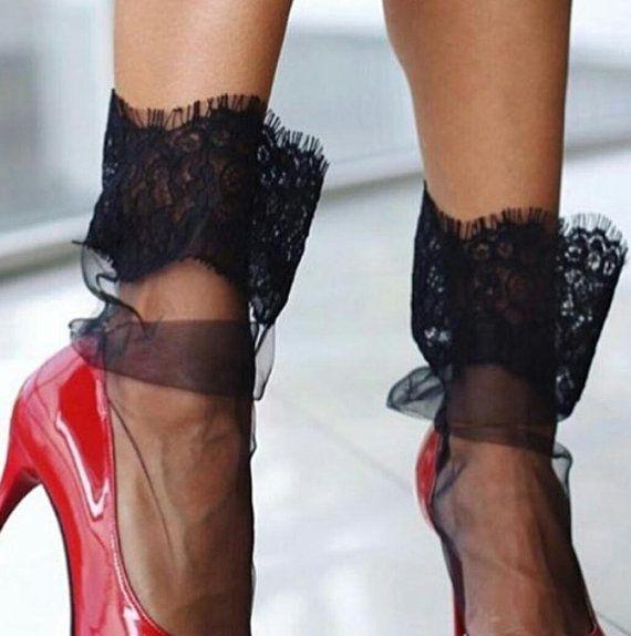 40a5550dc Black lace socks - Sexy Lace Socks -Tulle socks - Black socks - Sheer socks  - Crystal modern socks -