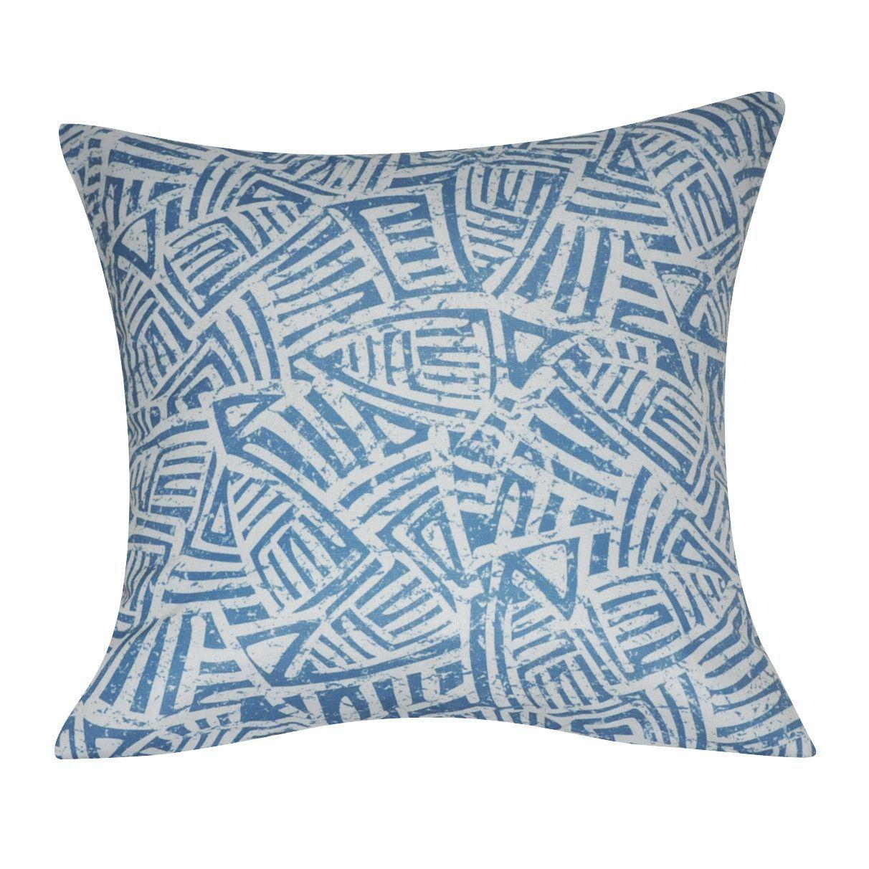 """21"""" x 21"""" Blue Aztec Decorative Pillow P0136-2121P"""