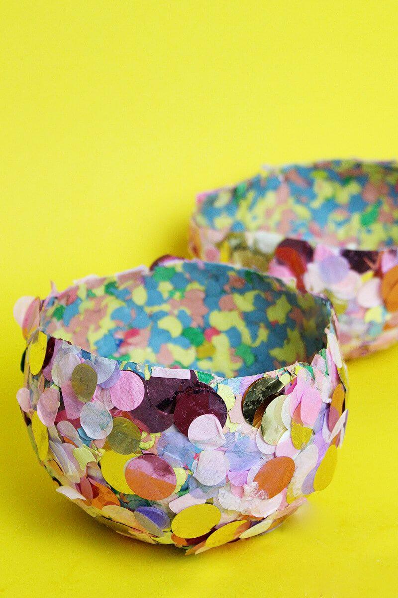 diy schalen aus konfetti selber machen: einfache bastellidee mit