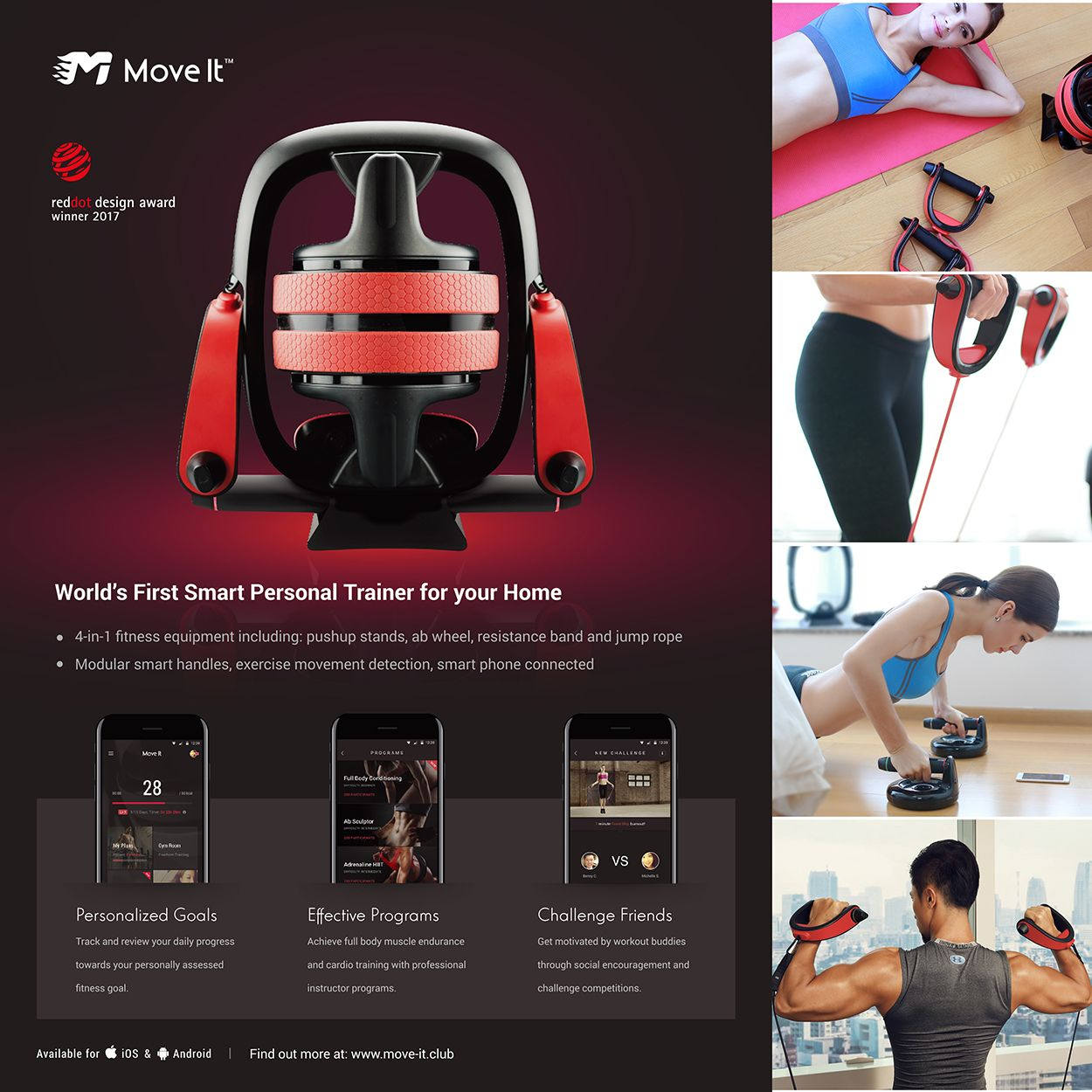 Multi home gym move it smart personal trainer smart phone app