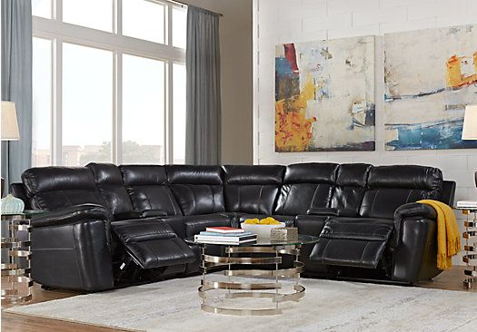 Picture Of Hudson Square Black Leather 7 Pc Reclining Sectional Extraordinary Black Leather Living Room Furniture Design Inspiration