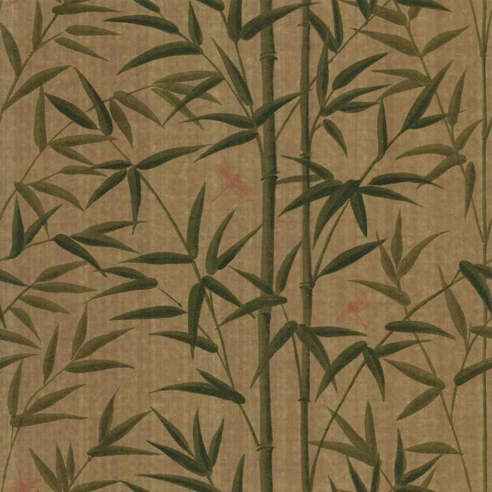 The Wallpaper Company 8 In X 10 Green Bamboo And Dragonflies Sample WC1280505S