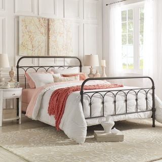 Tribecca Home Gie Antique White Graceful Lines Victorian Iron Metal Bed Queen Size