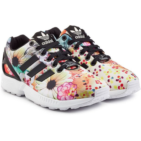 best sneakers abf90 adb08 Adidas Originals ZX Flux Sneakers ( 90) ❤ liked on Polyvore featuring  shoes, sneakers, adidas, florals, flower print sneakers, floral print  shoes, ...
