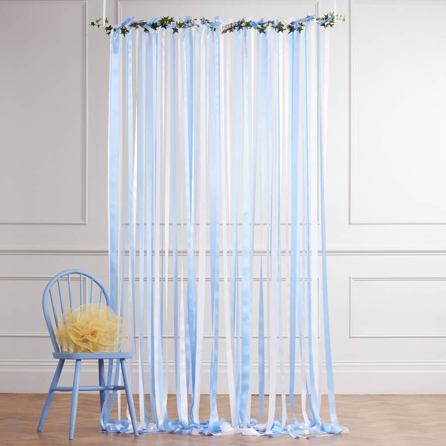 Blue curtain backdrop - Ready To Hang Ribbon Curtain Backdrop Blue And White