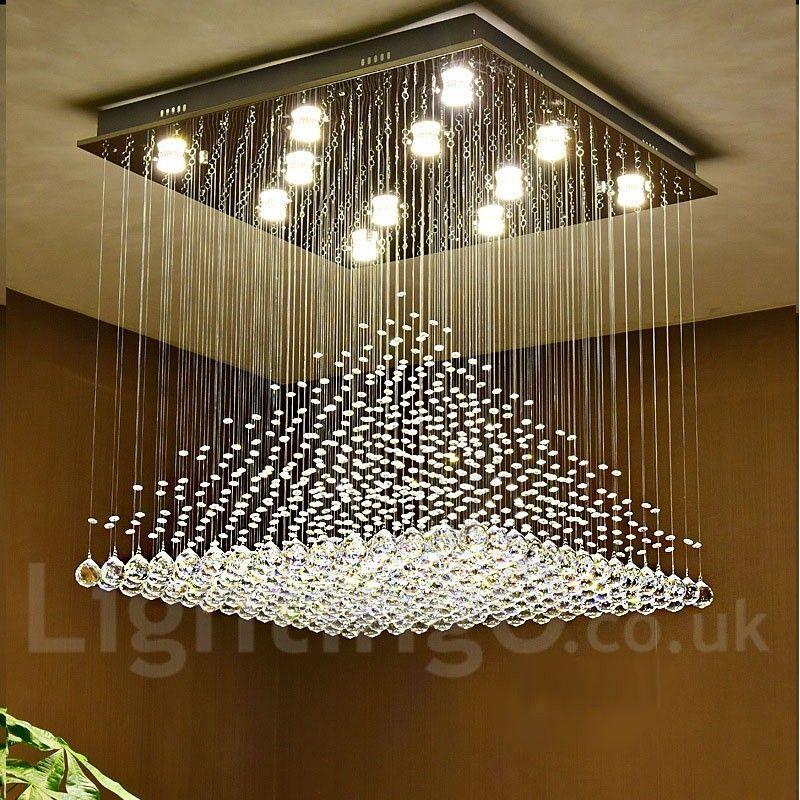Modern LED Crystal Ceiling Lights lamp Fixtures Pendant Crystal Chandelier UK