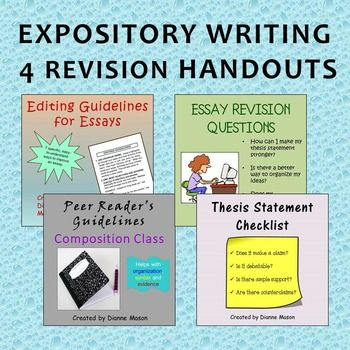 Expository Writing 4 Revision Handouts Great Teaching Resources