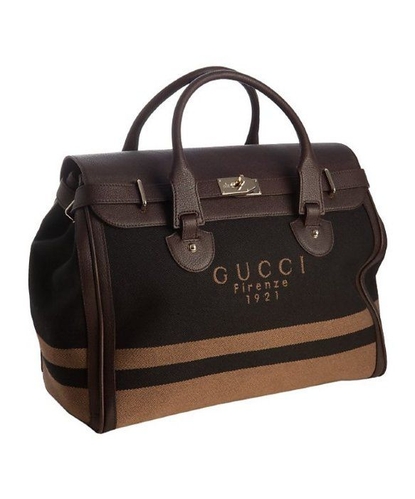 f097a04b2b7 Gucci   brown and black logo twill weekend travel tote   style   318253701