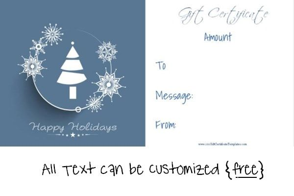 Christmas Gift Certificate Templates Christmas Gift Certificate Template Gift Certificate Template Holiday Gift Certificates
