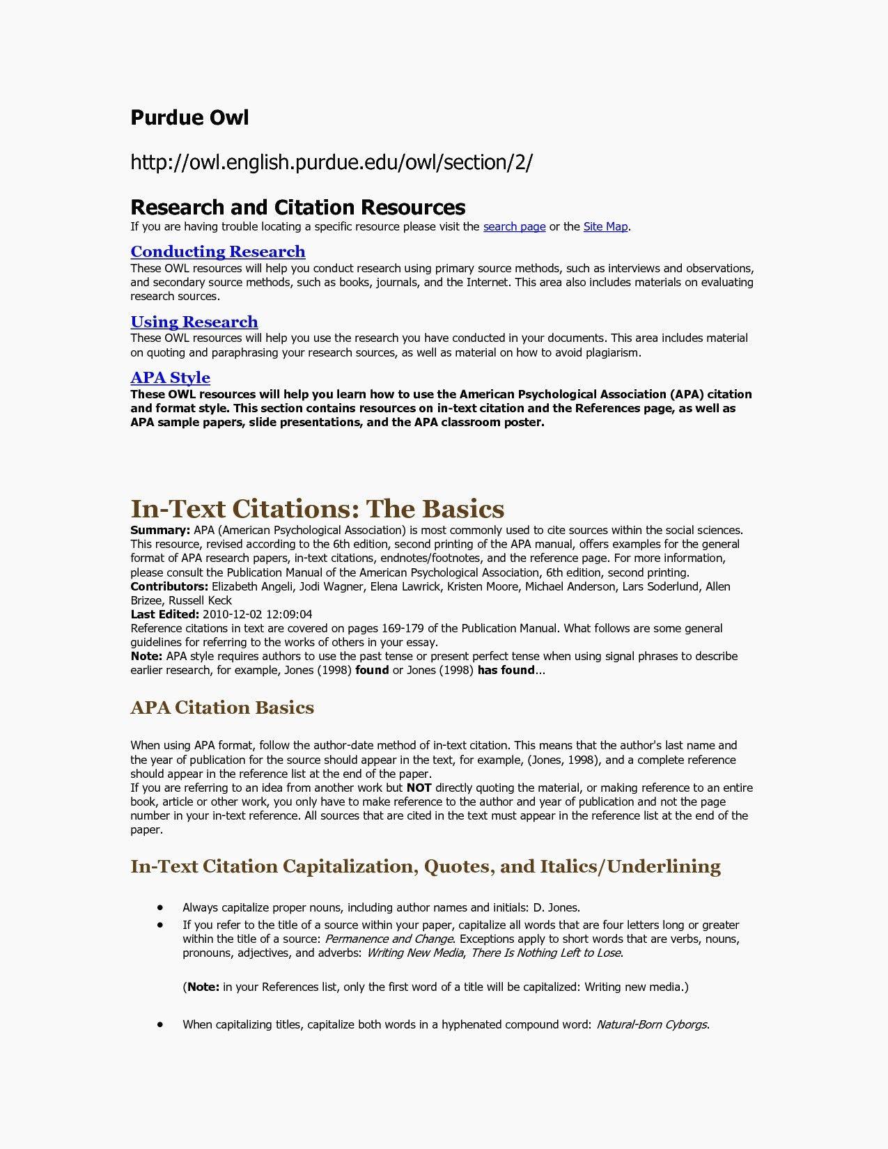 Resume Format Purdue Owl ResumeFormat