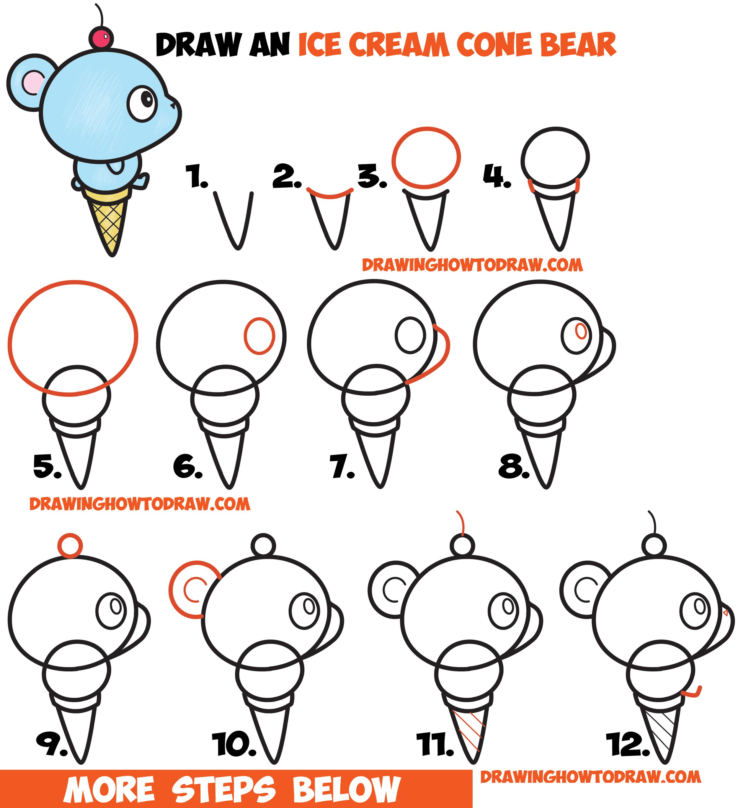How To Draw Super Cute Cartoon Kawaii Bear On Ice Cream Cone Easy Step By Drawing Tutorial For Kids Beginners