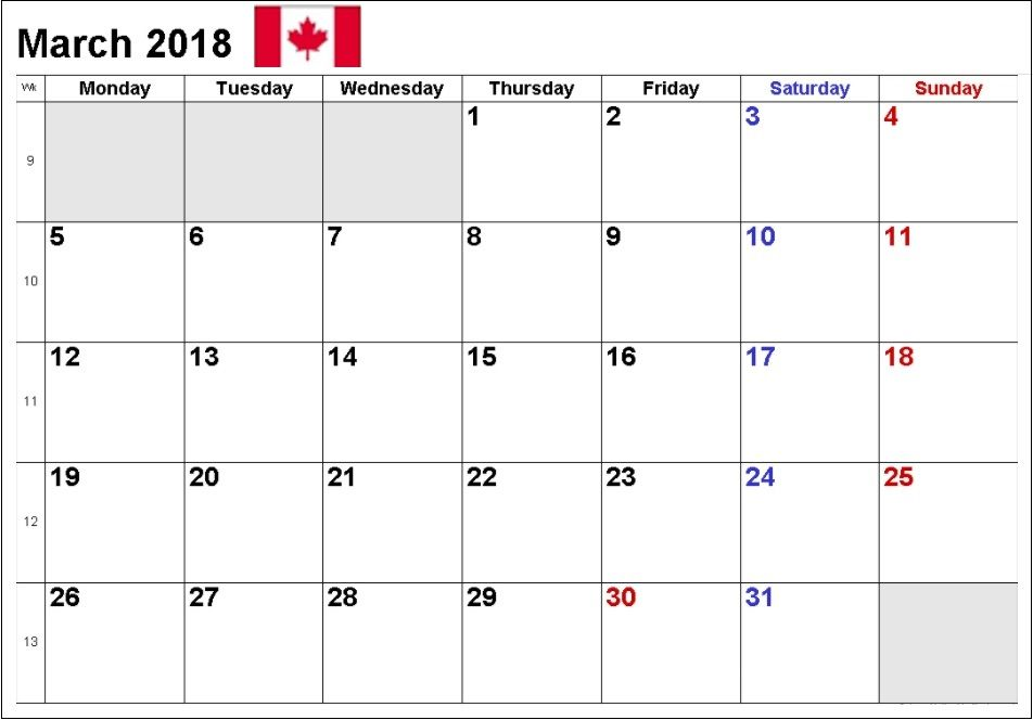 march 2018 printable calendar canada