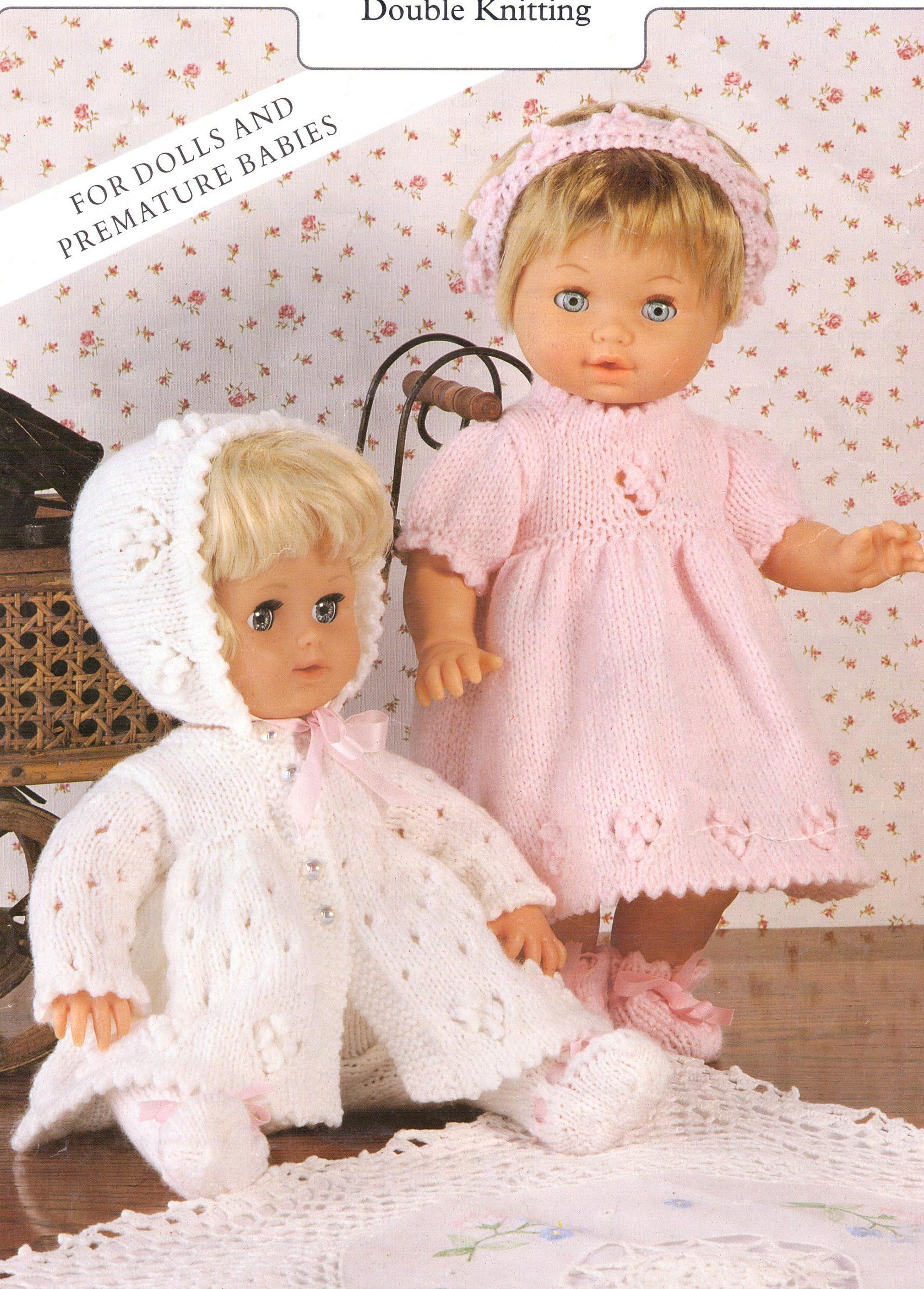 Baby Dolls Knitting Patterns Outfit Dress Leggings Jacket Headband ...