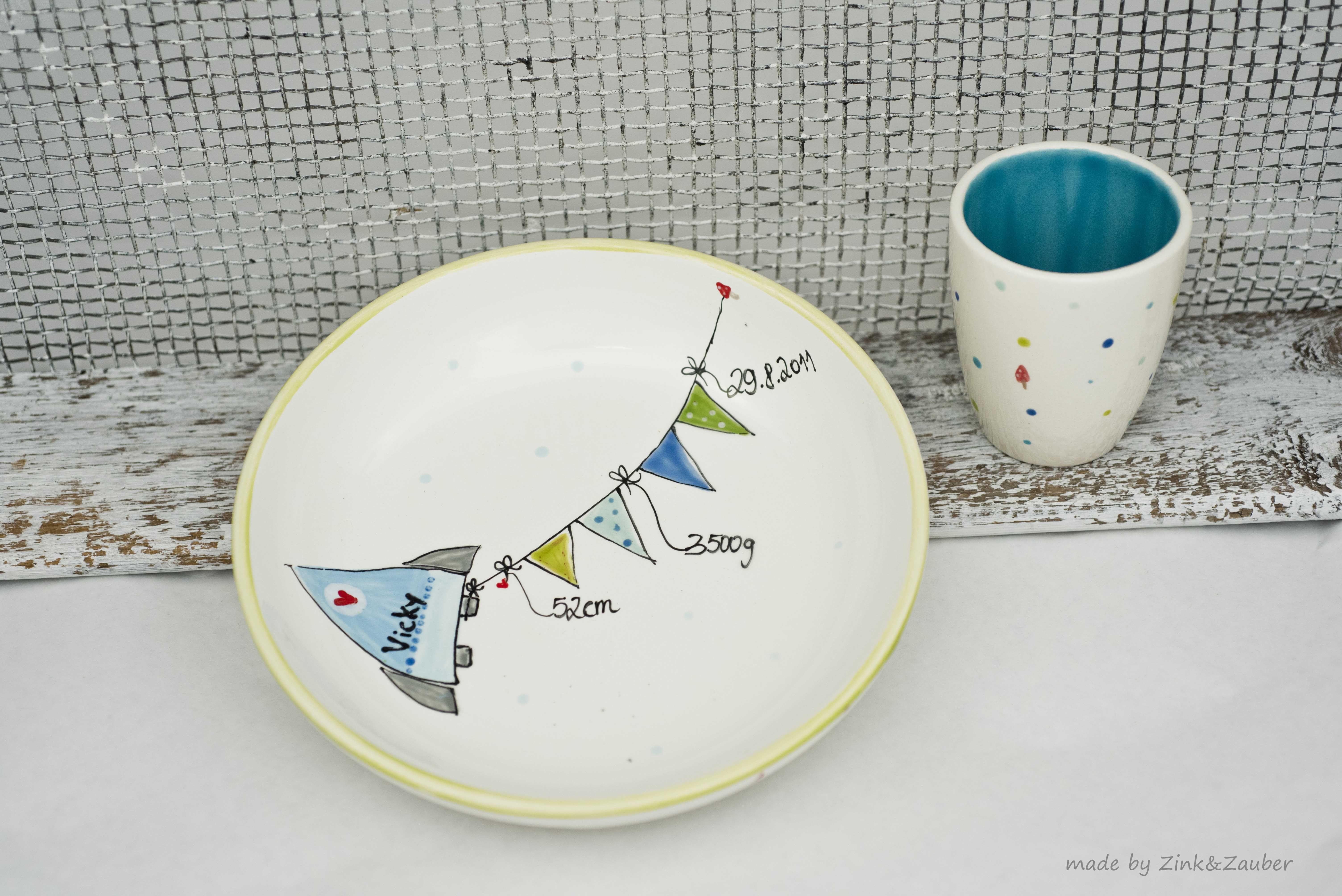 handgemaltes geschenkidee zur geburt zinkundzauber keramik bemalen keramik bemalen. Black Bedroom Furniture Sets. Home Design Ideas