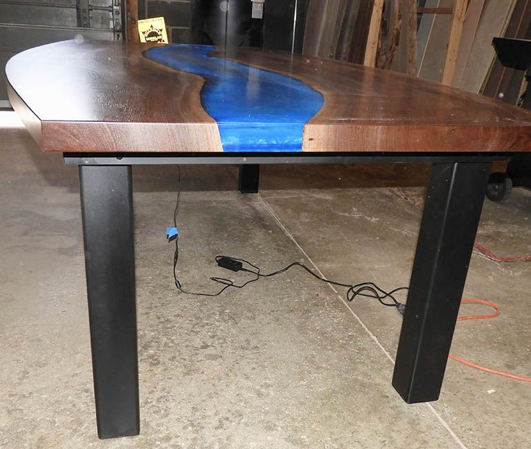 Live Edge Conference River Table With Led Lights Custom Table