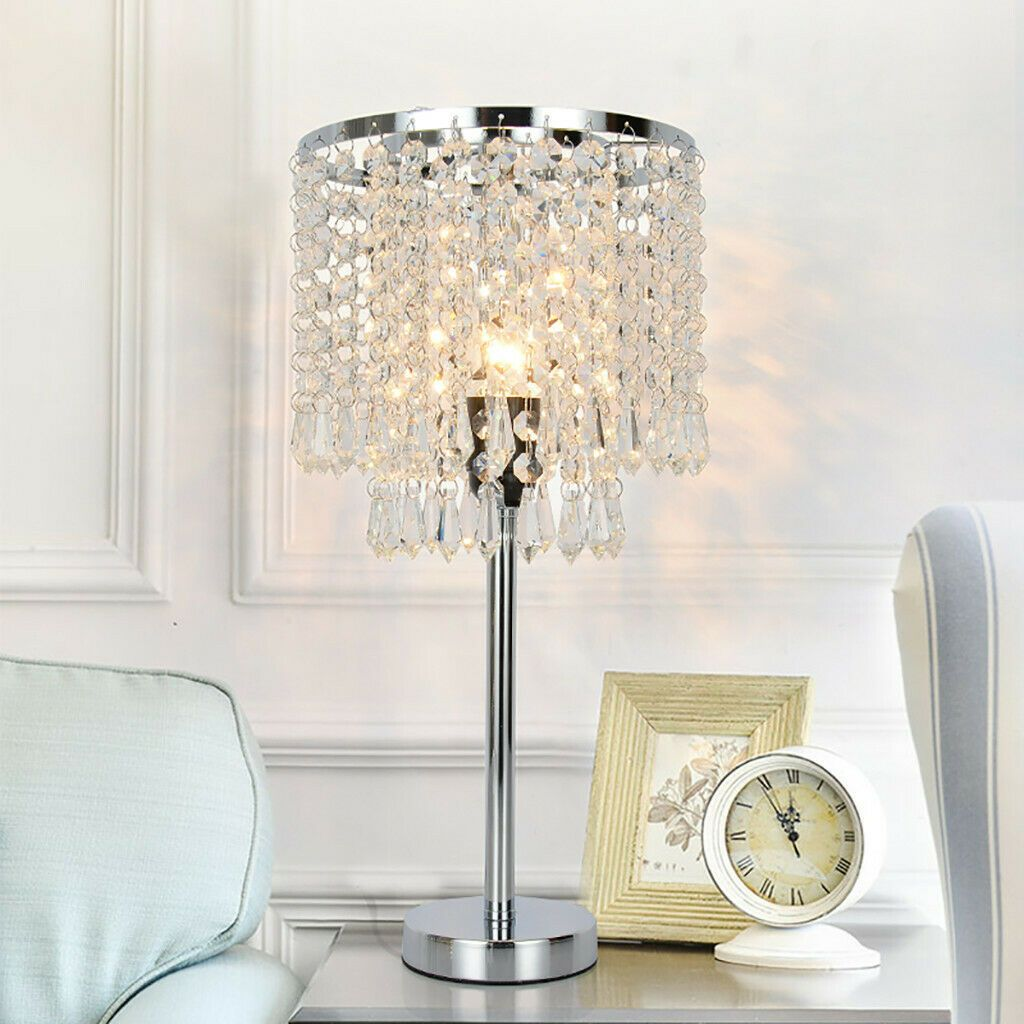 Crystal Table Lamp Elegant Decorative Desk Lamp With Crystal Shade