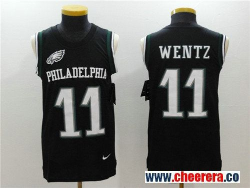 Men s Philadelphia Eagles  11 Carson Wentz Black Color Rush 2017 Vest  Stitched NFL Nike Tank 07698bf78