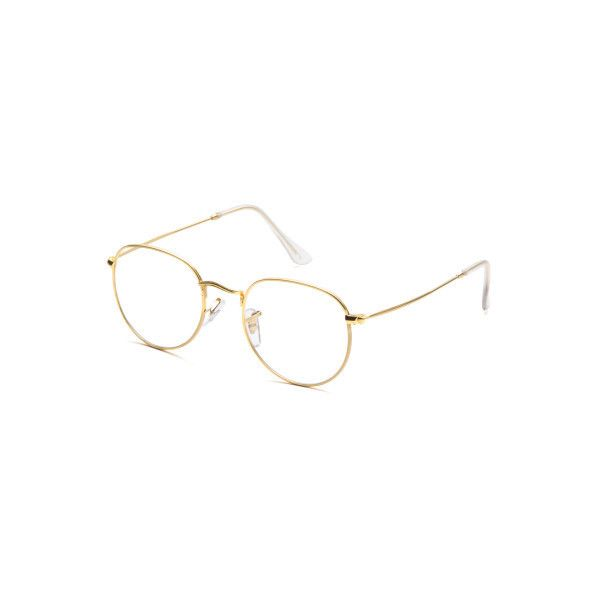 de864ec391c SheIn(sheinside) Gold Frame Clear Lens Glasses (30 SAR) ❤ liked on Polyvore  featuring accessories