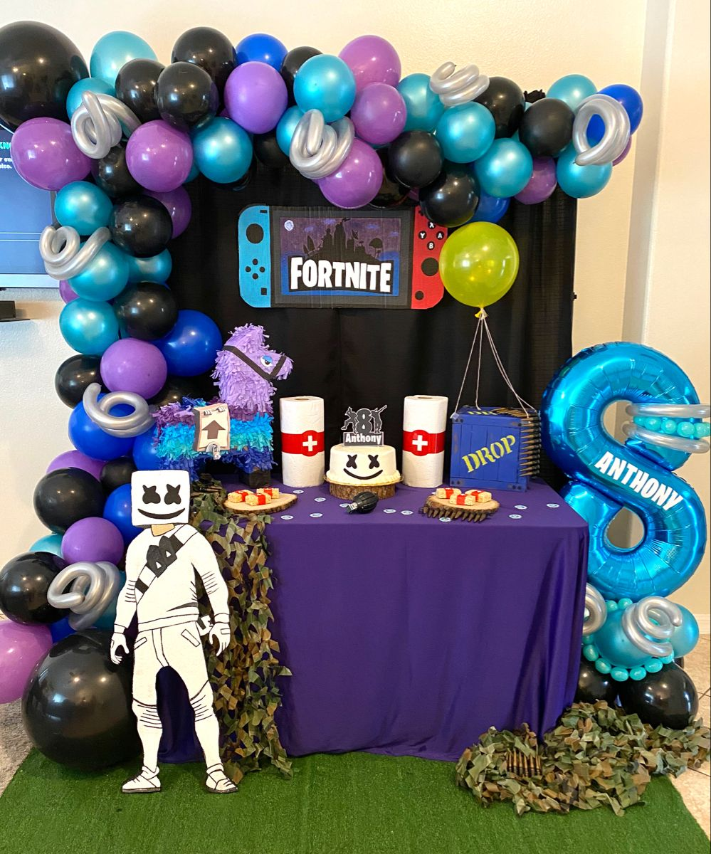 Fortnite Cake Table In 2020 Boy Birthday Parties Birthday Party Decorations Diy Boys Birthday Party Games