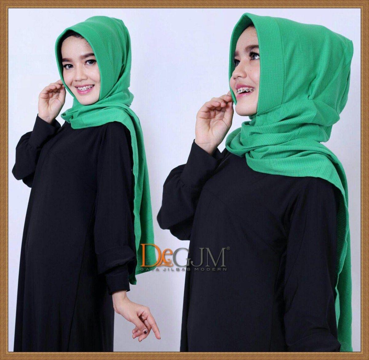 Pashmina Langsung Pakai Polos Ribby Cantik DeGJM Hijab Pashmina