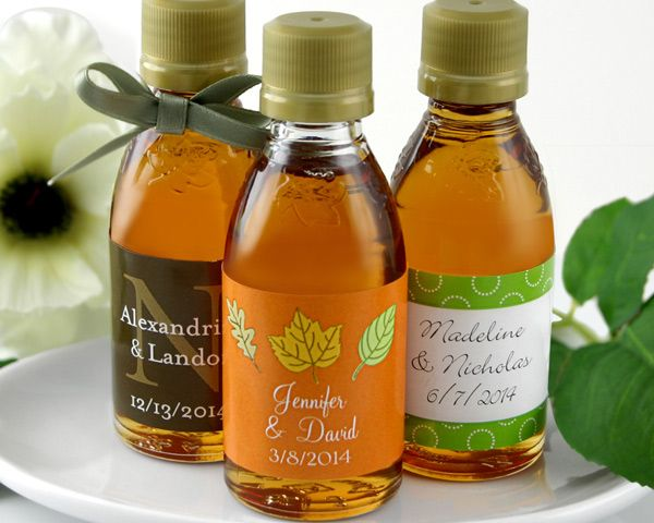 c88f27a0489 Personalized Maple Syrup Favors (Many Designs Available)