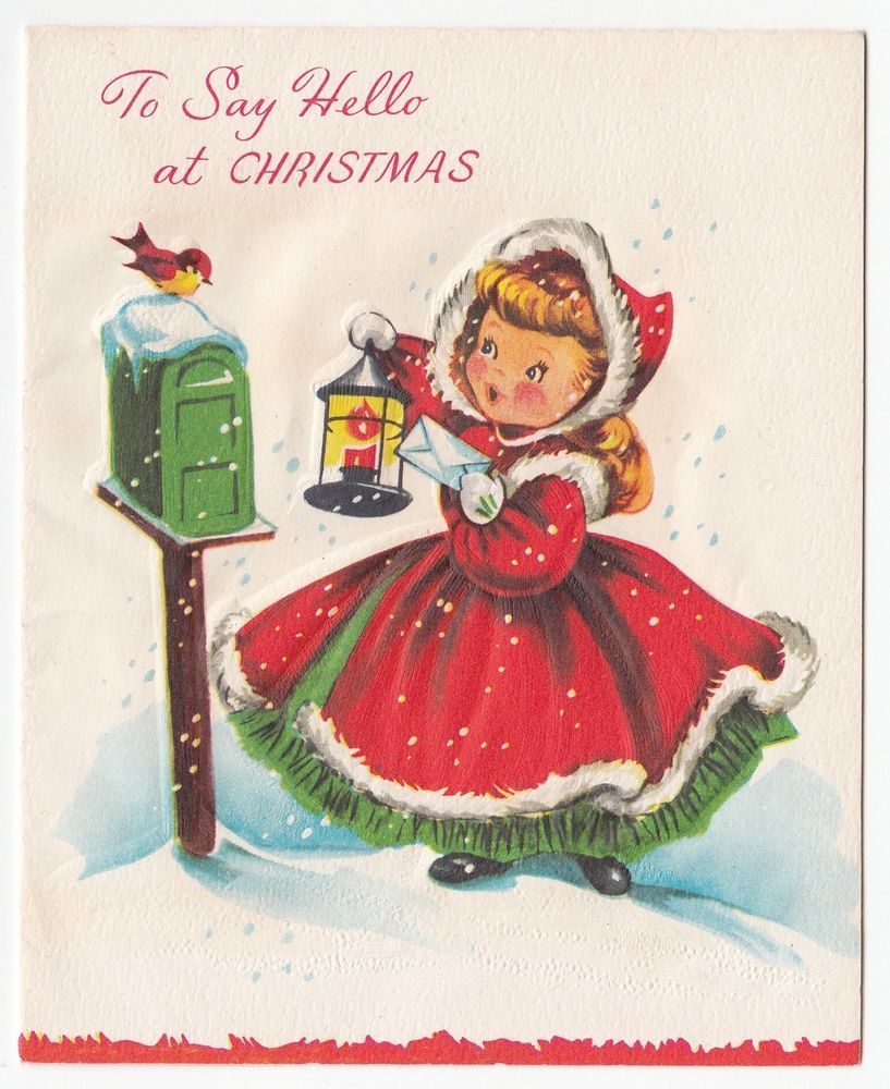 Vintage greeting card christmas cute little girl red dress white vintage greeting card christmas cute little girl red dress white fur trim bird kristyandbryce Image collections