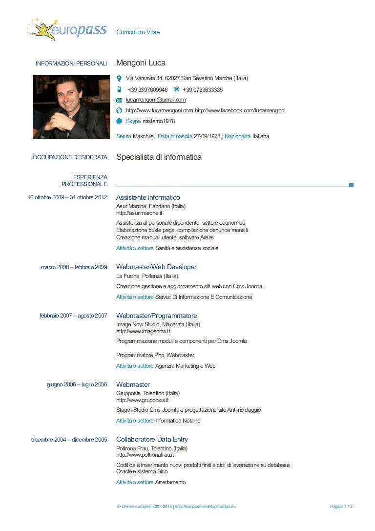 Luca Mengoni Curriculum Vitae Europass Curriculum Vitae Curriculum Resume