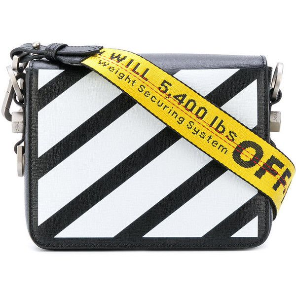 47770124041d Off-White Black Diagonal Flap Bag (£755) ❤ liked on Polyvore featuring bags